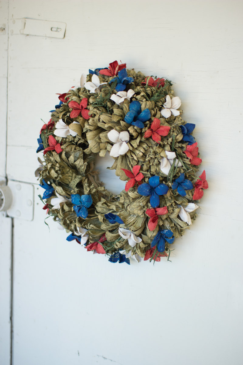corn husk red white and blue wreath