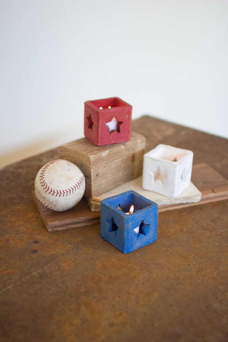 red white and blue votive holders