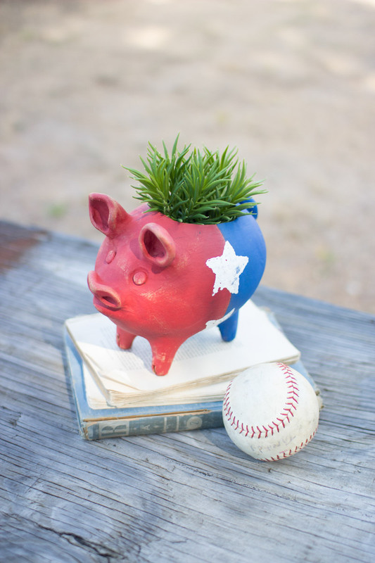 clay piggy planter