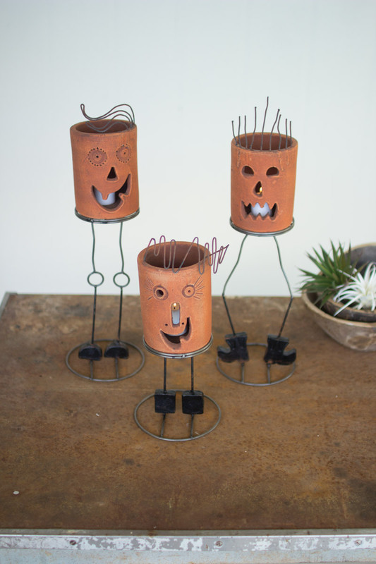 SET/3 CLAY CYLINDER JACK-O-LANTERNS