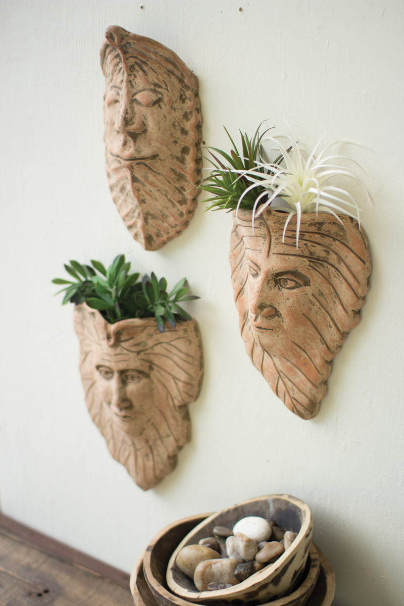 Set Of 3 Clay Leaf Wall Face Planters