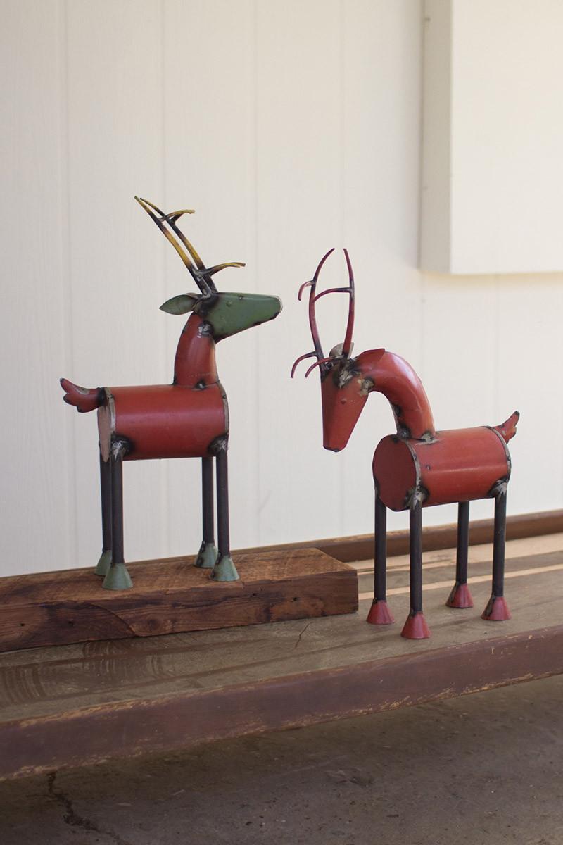 Set of recycled metal reindeer