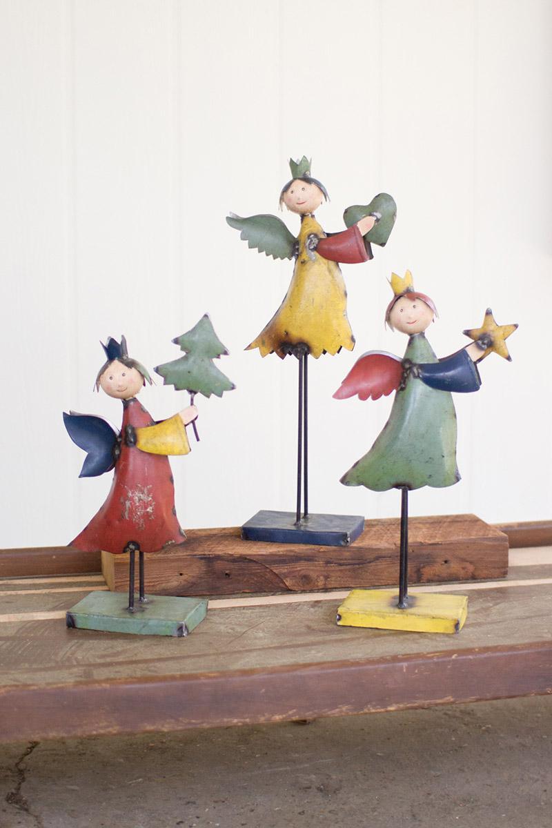 set of 3 recycled metal angels on metal base