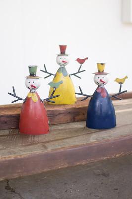 set of 3 recycled metal snowmen