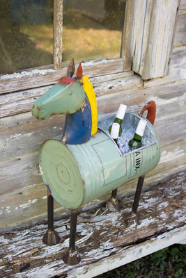 recycled iron horse cooler planter