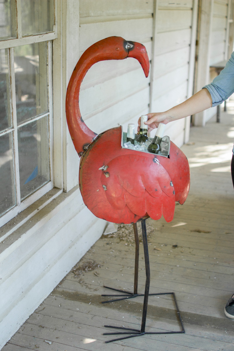 iron flamingo cooler or planter