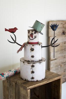 iron snowman with bird