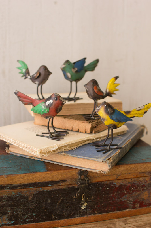 Set of 5 Recycled Metal Birds