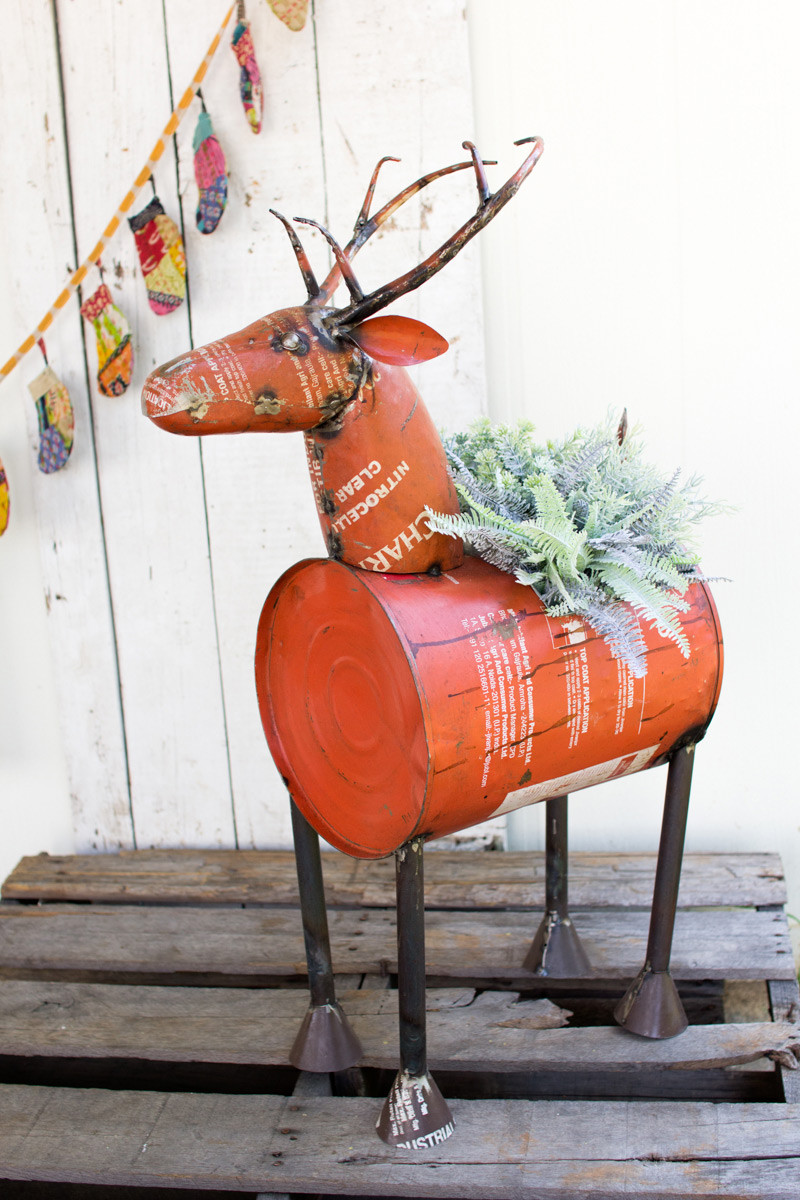 reclaimed red metal deer planter wi