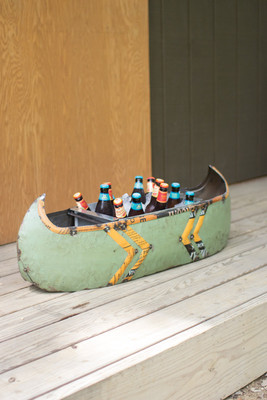 RECYCLED METAL CANOE PLANTER/COOLER