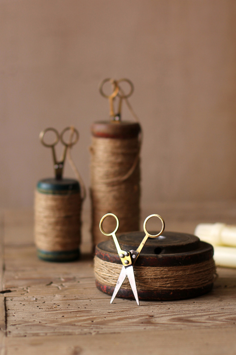 set of 3 recycled wooden spools