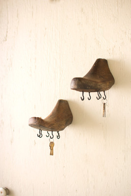 antique wooden shoe mold with hooks