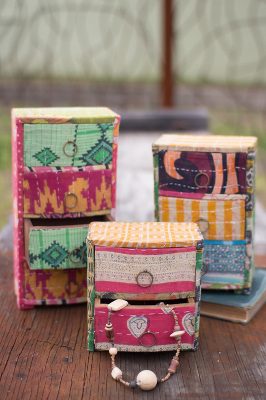 kantha covered jewelry chests