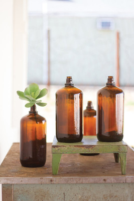 antique glass brown bottle