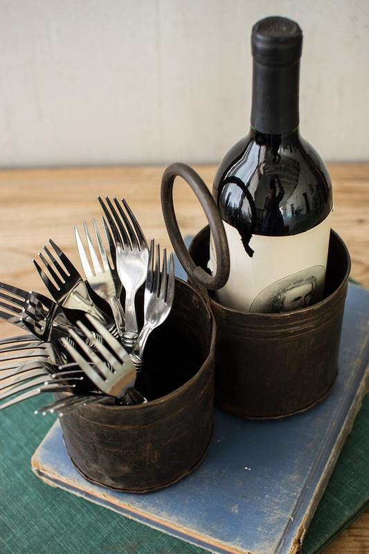 rustic iron double utensil server