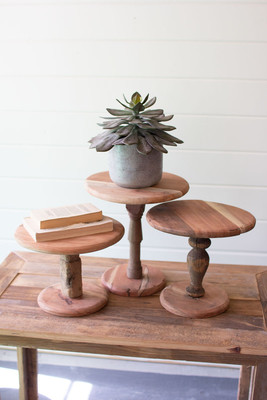 wooden display stands