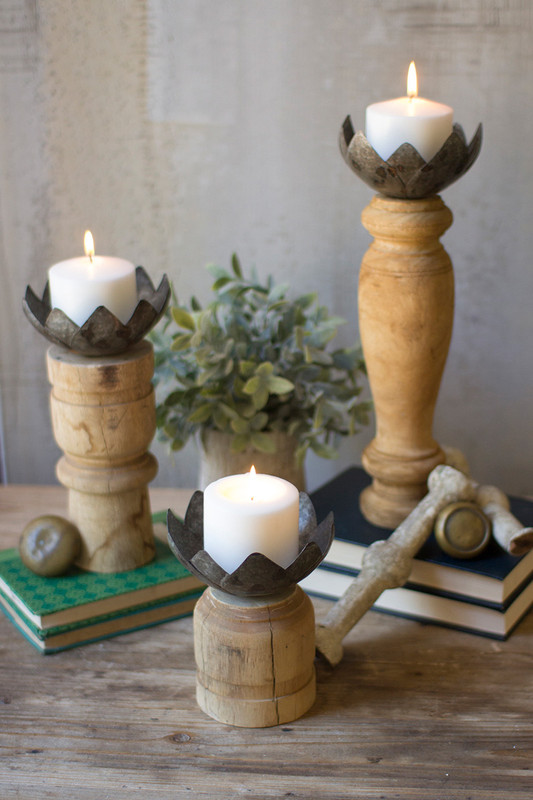 WOOD CANDLE STANDS