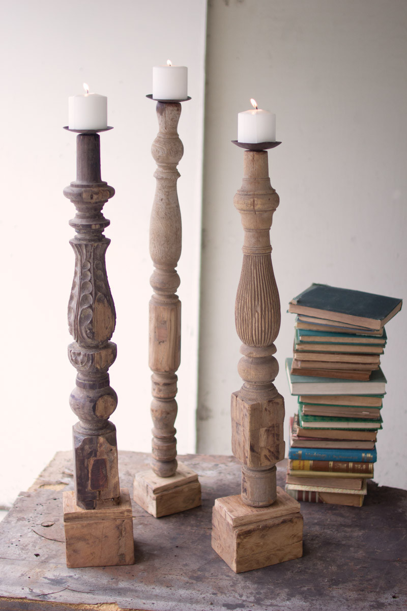 large repurposed wooden table leg candle stand