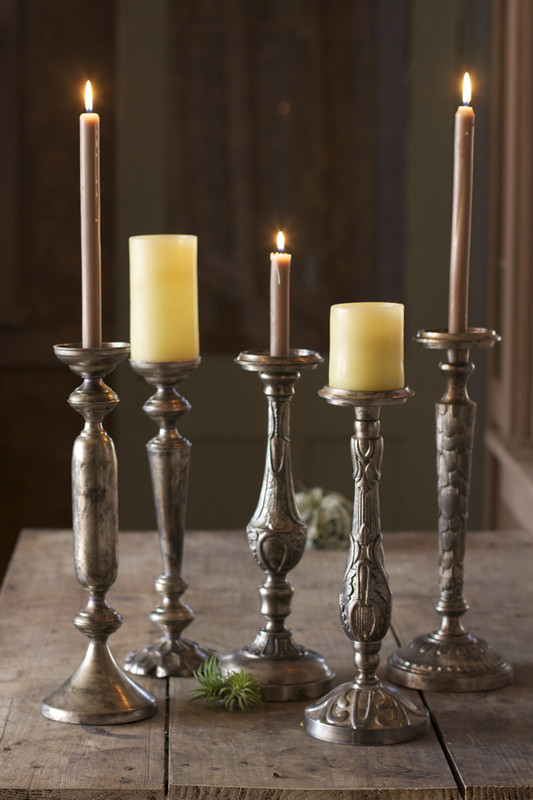 ANTIQUE NICKEL PLATED CANDLEHOLDERS