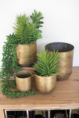 set of four metal flower pots - aged brass finish