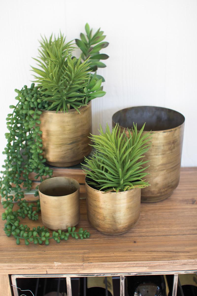 Set Of 4 Aged Brass Metal Flower Pots
