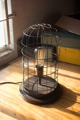wire cage desk lamp