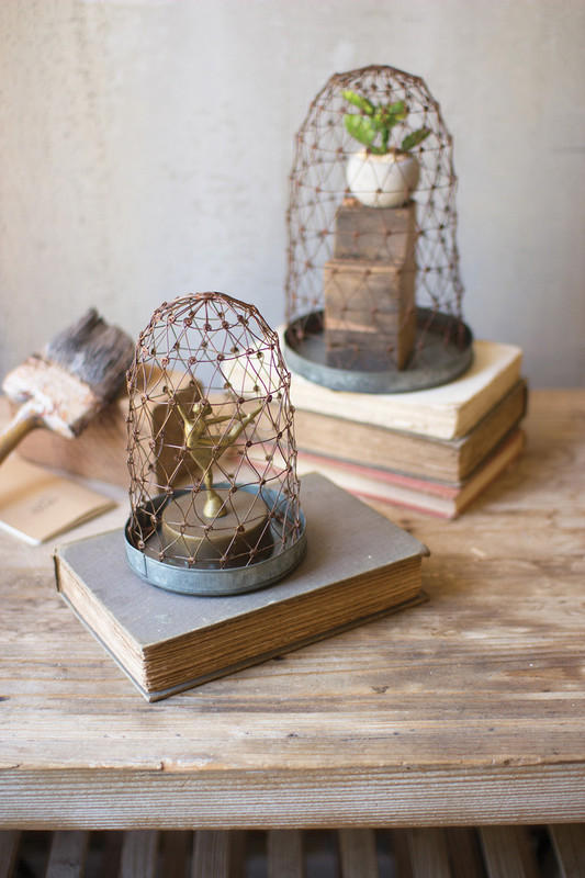 RUSTIC WIRE CLOCHES WITH METAL BASE