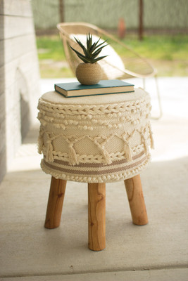 MACRAME STOOL WITH WOODEN LEGS