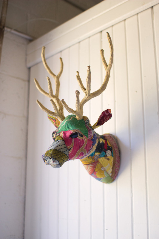Kantha Covered Reindeer Head Wall Mount