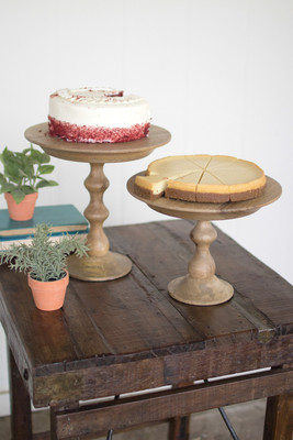 small wooden cake stand