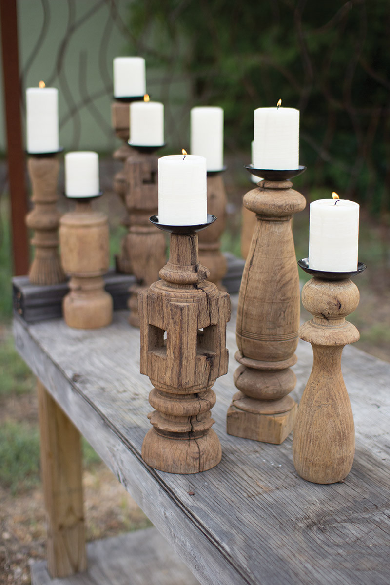 set/3 reclaimed wooden furniture leg candle holder