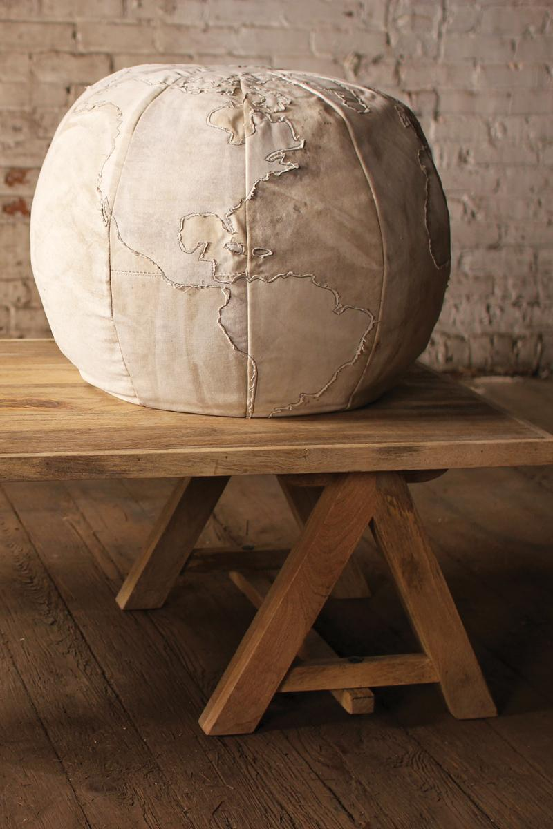 Recycled Canvas Globe Pouf Amazing Design
