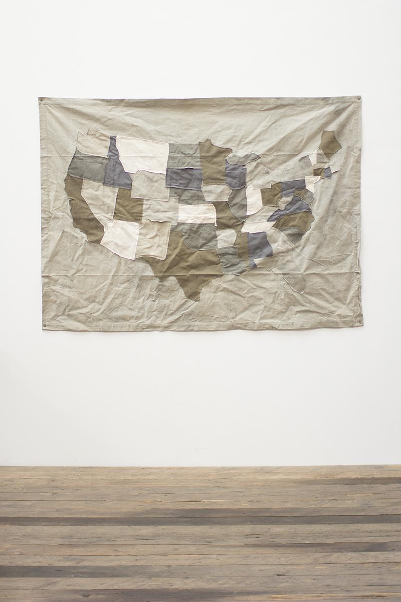 recycled canvas USA mapwall hanging