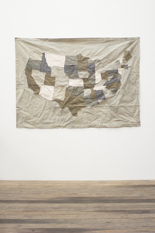 recycled canvas USA map wall hanging