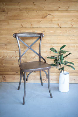 Pair of Rustic Iron Cross-Back Dining Chairs