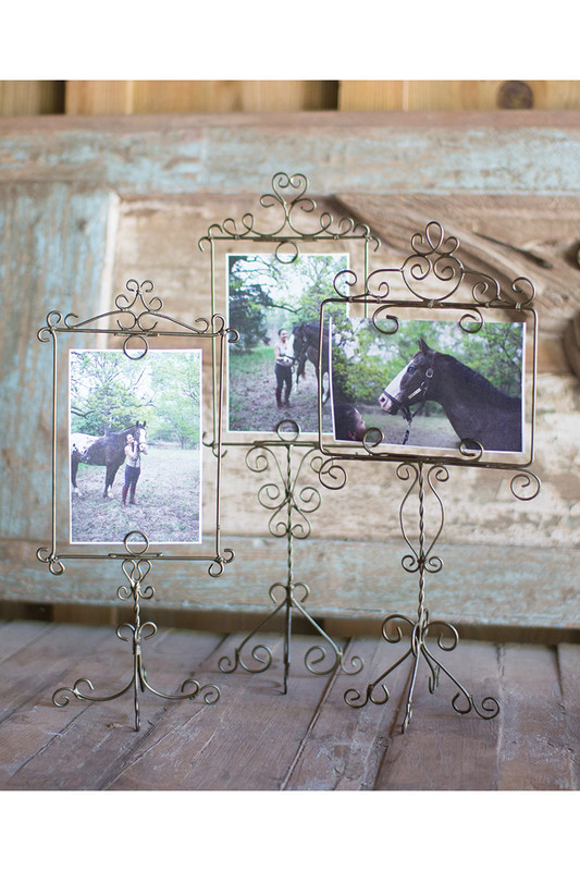 set of 3 wire photo frames on a stand - antique brass