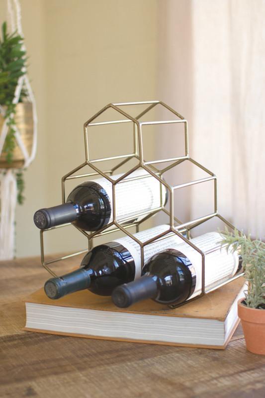 wire geometric wine bottle holder - antique brass