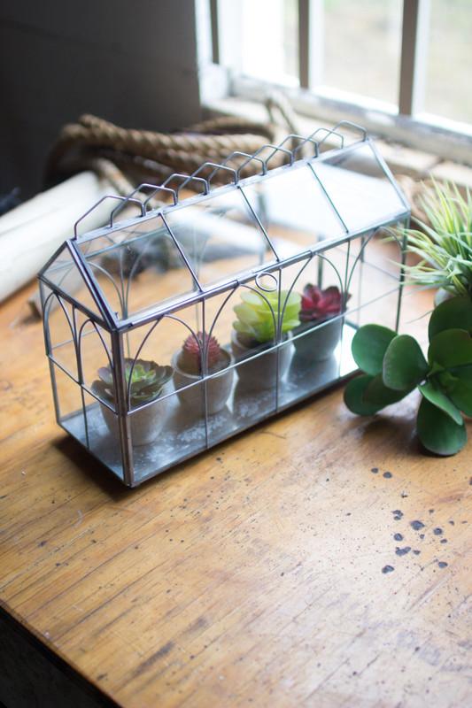 glass and wire terrarium