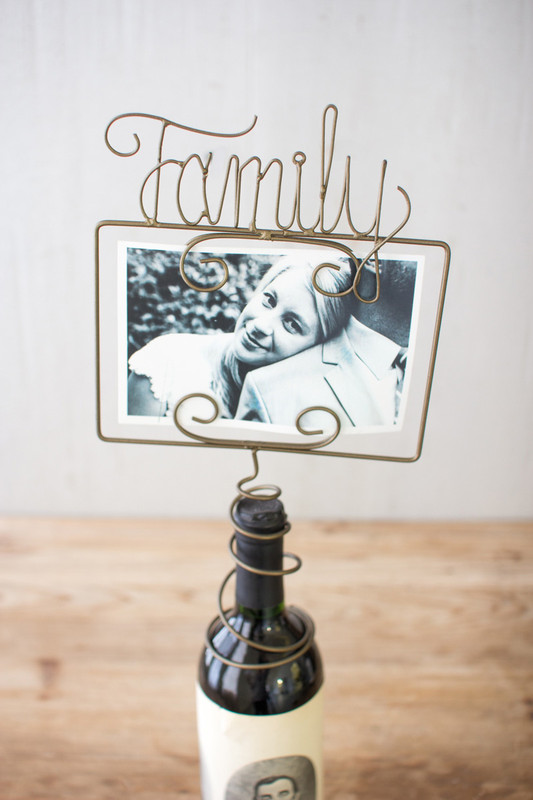 wine topper photo holder family