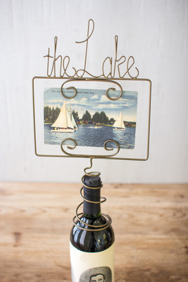 wine topper photo holder the lake