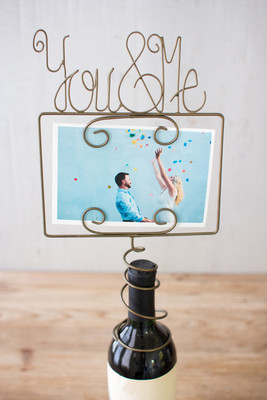 wine topper photo holder you and me