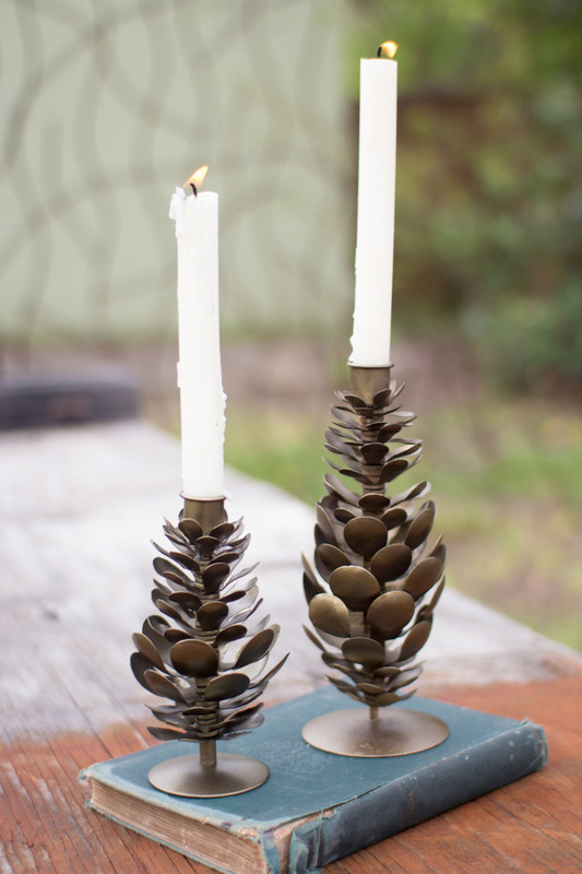 metal pine cone taper candle holder