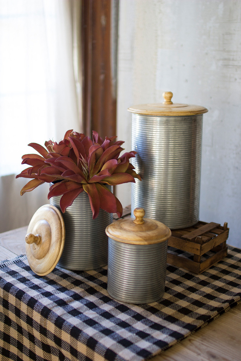 GALVANIZED CANISTERS WOODEN TOPS