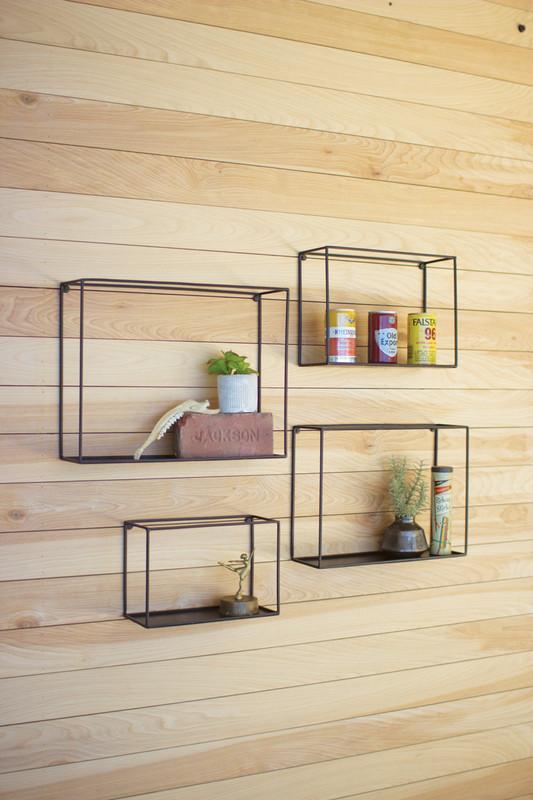 Set of 4 Framed Black Wall Shelves