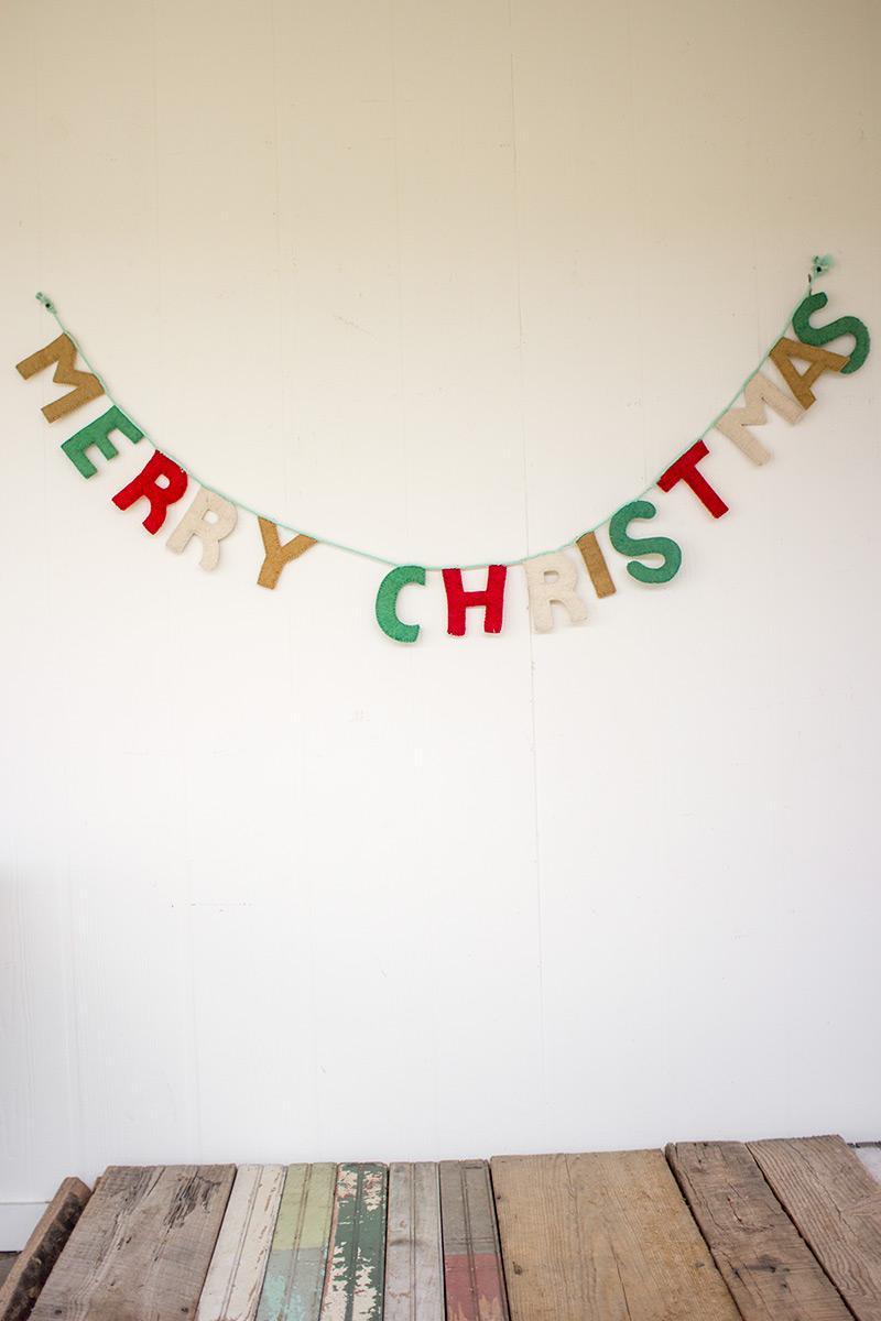 felt merry christmas garland