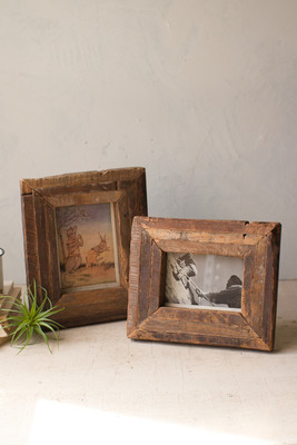 Set of 2 Recycled Wooden Photo Frames