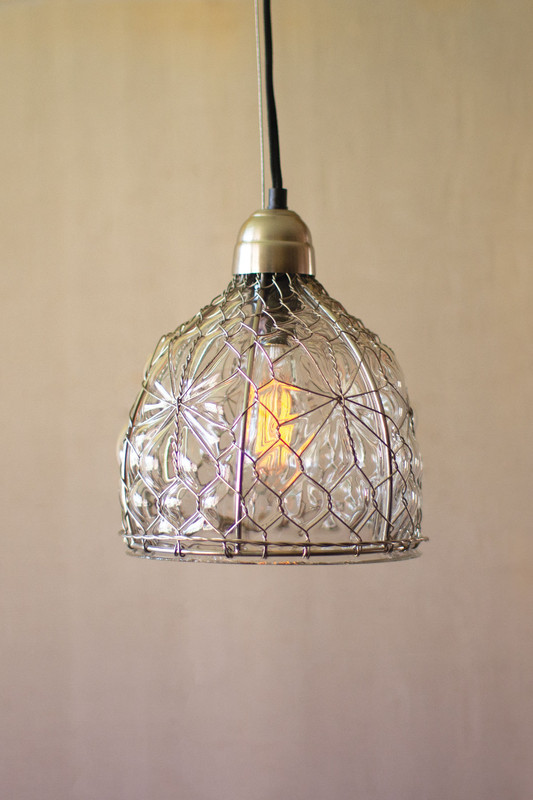 pendant lamp - wire & glass shade