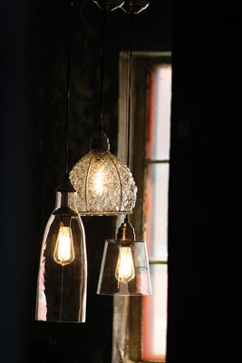 pendant lamps - tall glass shade