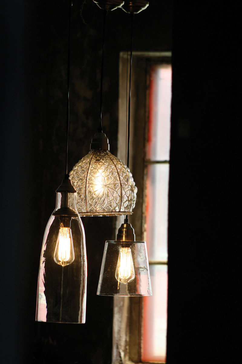 Vintage Inspired Pendant Lamp With Tall Glass Shade
