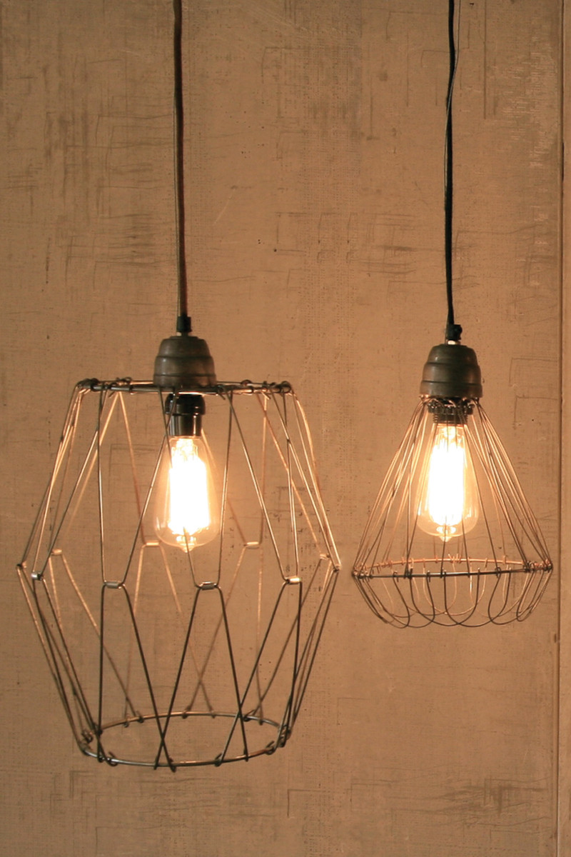 vintage inspired wire pendant lamp with flexible flared base cloth ...
